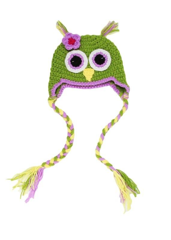 Green Owl Crochet Hat with Tails - Dream Lily Designs