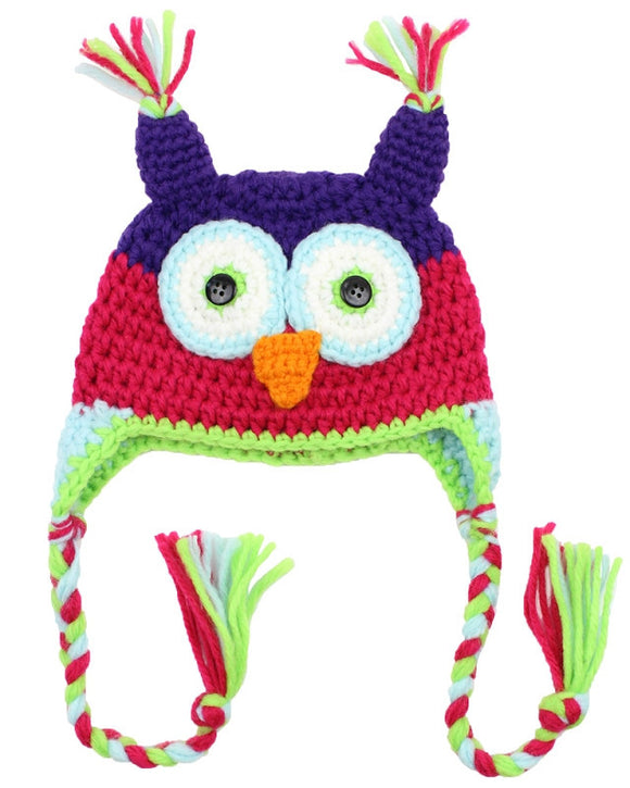 Purple and Pink Owl Crochet Hat with Tails - Dream Lily Designs