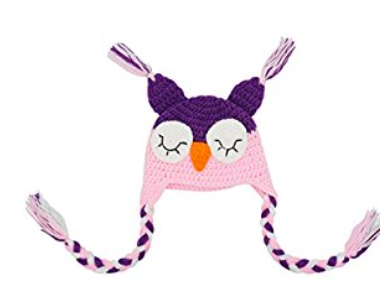 Light Pink and Purple Owl Crochet Hat with Tails - Dream Lily Designs