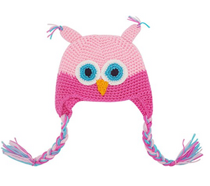 Light Pink and Hot Pink Owl Crochet Hat with Tails