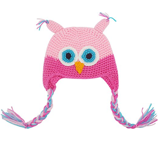 Light Pink and Hot Pink Owl Crochet Hat with Tails - Dream Lily Designs