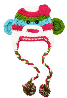 Blue Green and Pink Monkey Crochet Hat with Tails - Dream Lily Designs