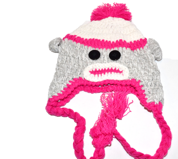 White and Pink Monkey Crochet Hat with Tails