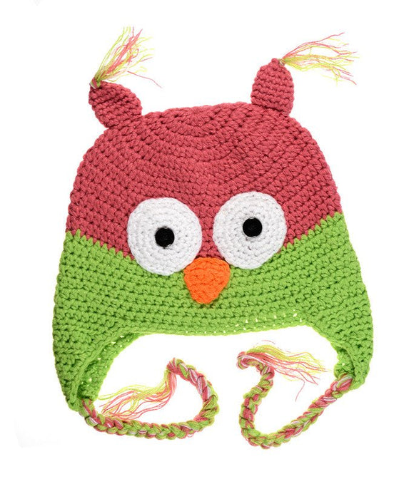 Pink and Green Owl Crochet Hat with Tails - Dream Lily Designs
