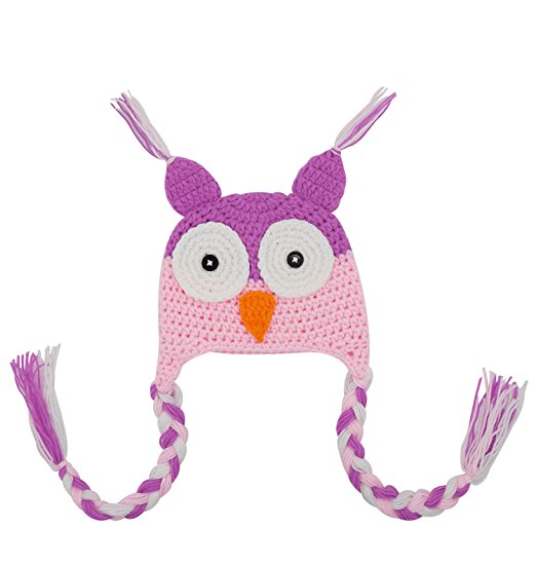 Light Pink and Fuchsia Owl Crochet Hat with Tails - Dream Lily Designs