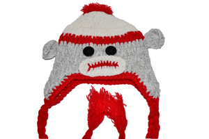Grey and Red Monkey Crochet Hat with Tails