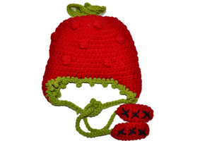 Strawberry Crochet Hat with Tails
