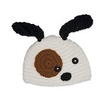 White and Brown Dog Crochet Hat - Dream Lily Designs