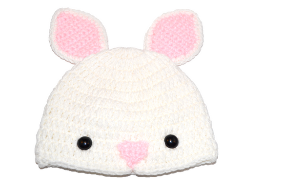 White Bunny Crochet Hat - Dream Lily Designs