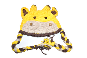 Yellow Giraffe Crochet Hat with Tails 1