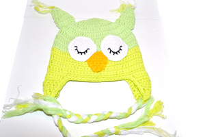 Yellow and Lime Owl Crochet Hat with Tails 1