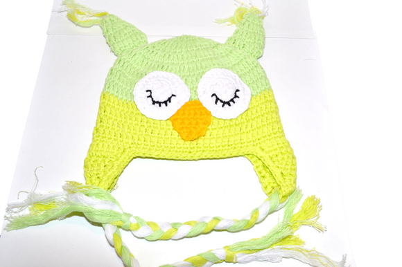 Yellow and Lime Owl Crochet Hat with Tails - Dream Lily Designs
