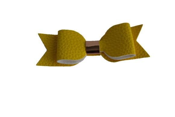Yellow Leather Bow - Dream Lily Designs