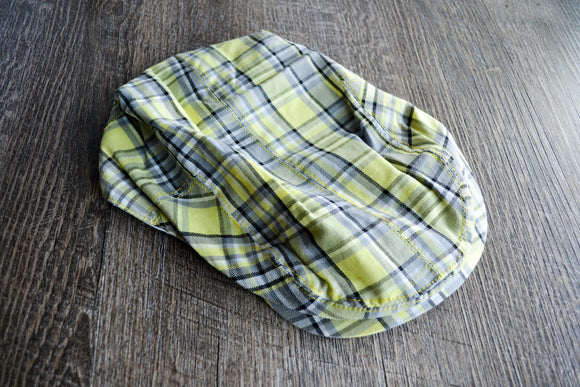 Boy Cabbie Hat, Tie and Diaper Cover Set - Yellow Grey Plaid Hat Only - Dream Lily Designs
