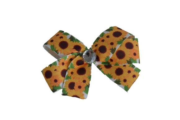 1 Inch White Green Leaf Crowded Sunflower Pattern Bow (Misc Patterns) - Dream Lily Designs