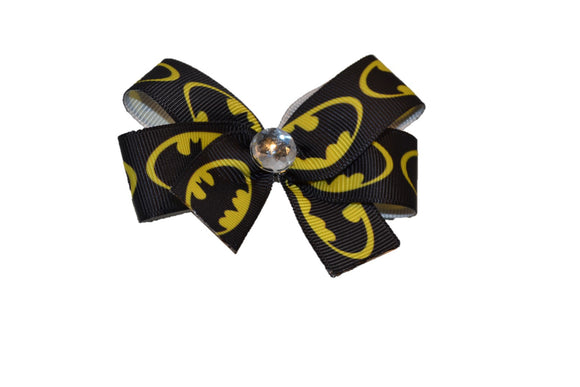 Black with Yellow Batman Bow (Superhero) - Dream Lily Designs