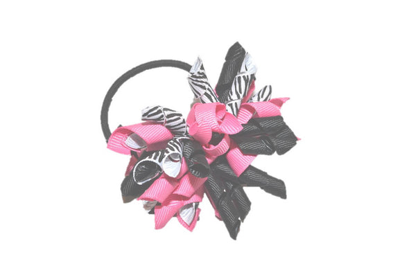 Pink Black Zebra Print Medium Korker Ribbon Ponytail