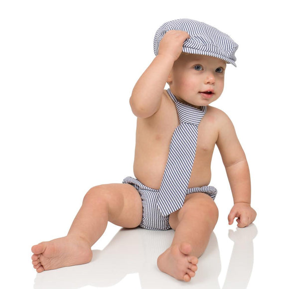 Boy Cabbie Hat, Tie and Diaper Cover Set - White and Navy Blue Stripe - Dream Lily Designs