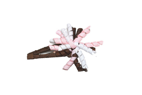 Mini Korker Snap Clip - Light Pink White Brown - Dream Lily Designs