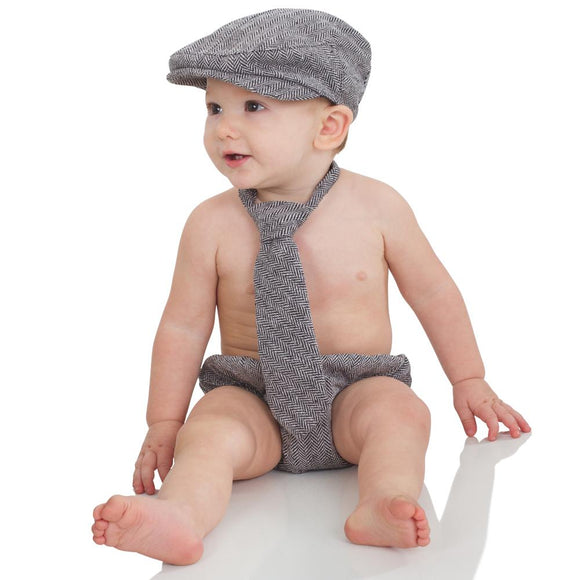 Boy Cabbie Hat, Tie and Diaper Cover Set - Black and Tan Tweed - Dream Lily Designs