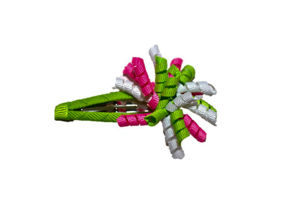 Mini Korker Snap Clip - Pink Green White - Dream Lily Designs