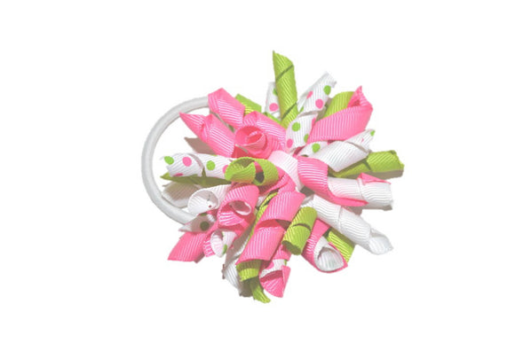 Pink Green White Polka Dot Medium Korker Ribbon Ponytail