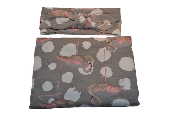 Swaddle Blanket and Headband Set - Grey with Flamingos - Dream Lily Designs