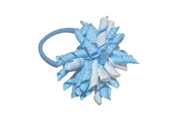Baby Blue White Polka Dot Medium Korker Ribbon Ponytail
