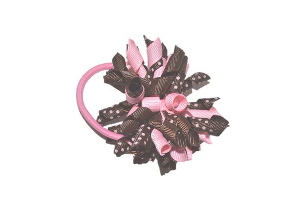 Light Pink Brown Polka Dot Medium Korker Ribbon Ponytail