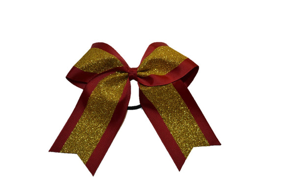 Medium Maroon and Gold Sparkle Cheer Bow - Dream Lily Designs