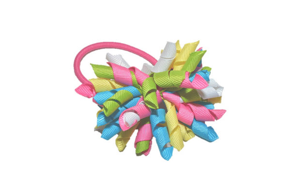 Blue Pink Green Yellow White Medium Korker Ribbon Ponytail