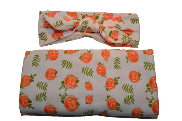 Swaddle Blanket and Headband Set - White with Coral Roses - Dream Lily Designs