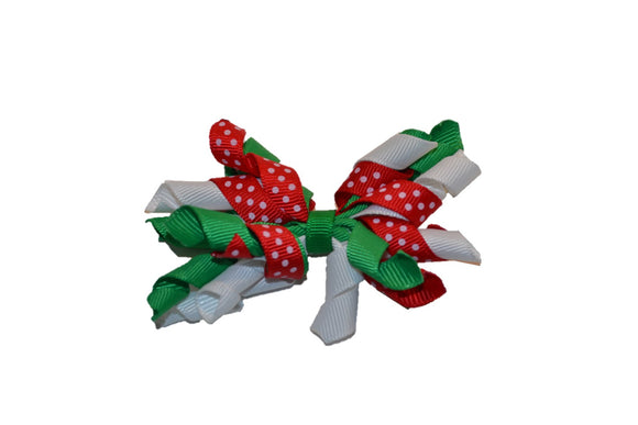 Christmas Red, Green, White Small Korker Ribbon Hair Bow Clip - Dream Lily Designs