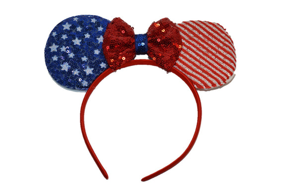 Deluxe Minnie Ears with Red Stripes and Blue Stars 4th July - Dream Lily Designs