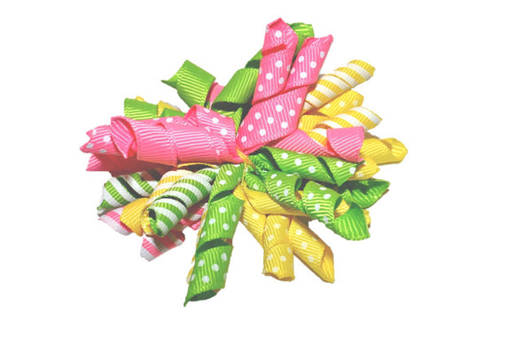 Pink Green Yellow White Striped and Polka Dot Large Korker Ribbon Hair Bow Clip