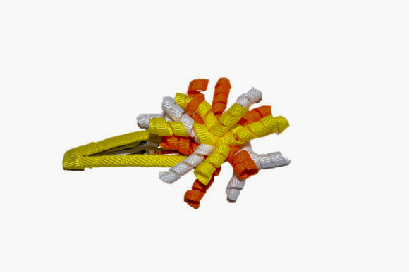 Mini Korker Snap Clip - Orange Yellow White - Dream Lily Designs