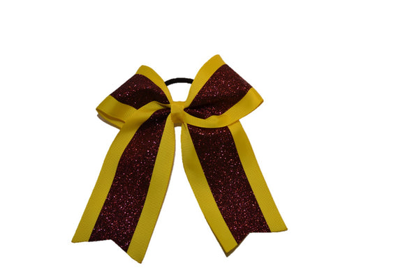 Medium Yellow and Maroon Sparkle Cheer Bow - Dream Lily Designs