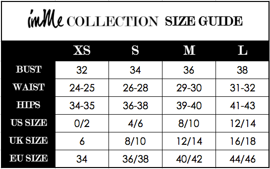 IMME COLLECTION women's clothing size guide