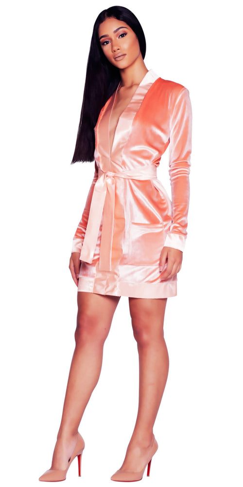 'GABRIELLA' VELVET DRESS - PEACH