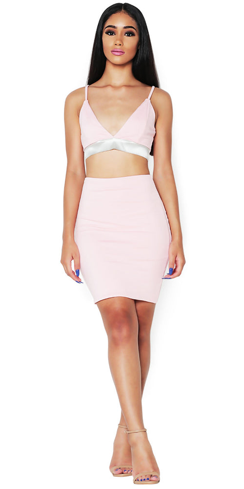 'LACY' PINK SKIRT SET
