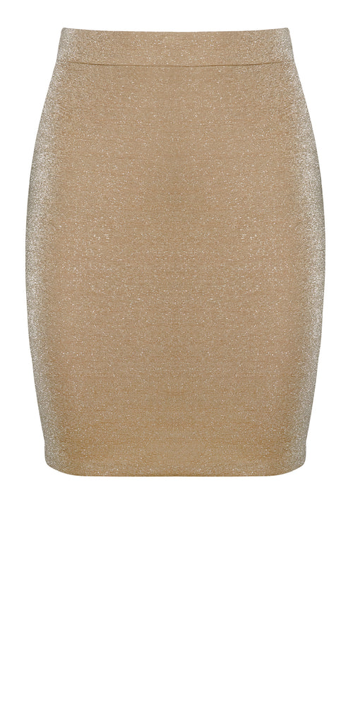 Nude Shimmer Mini Skirt