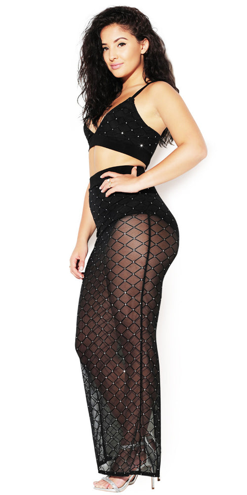 Sheer black skirt set by IMM COLLECTION.