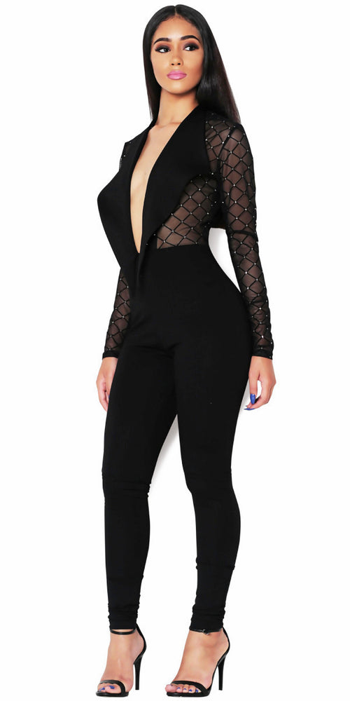Sheer black jumpsuit by IMME COLLECTION.