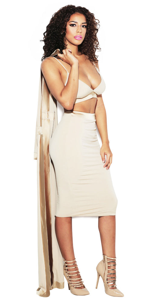 'BELLA' NUDE MIDI SKIRT SET