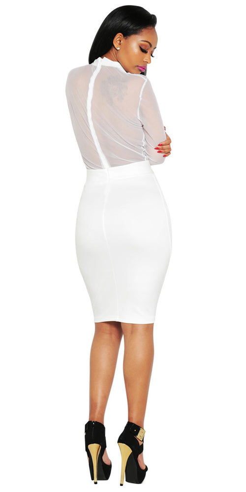 Sheer white Bodycon midi dress by IMME COLLECTION.