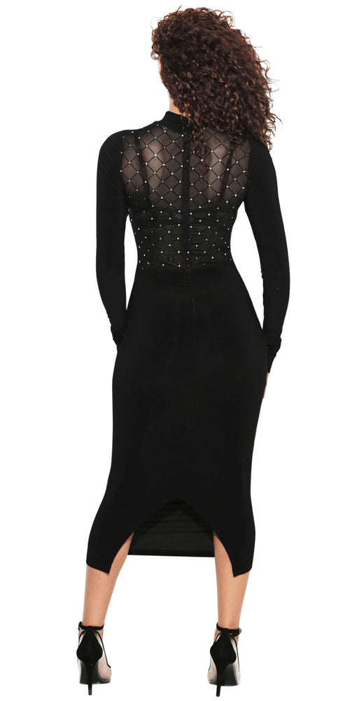 'GLAMOUR' BLACK MIDI DRESS