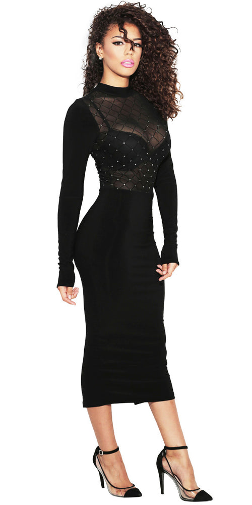 IMME COLLECTION black shear bodycon midi dress.