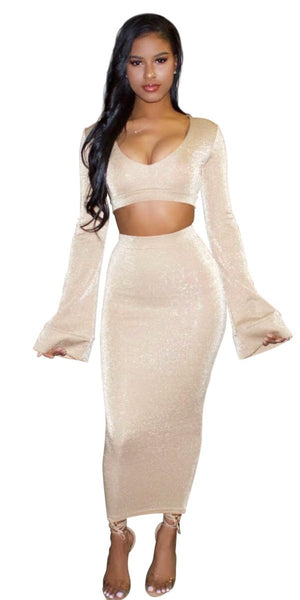 'AMIRAH' NUDE SHIMMER FLARE SLEEVE CROP TOP