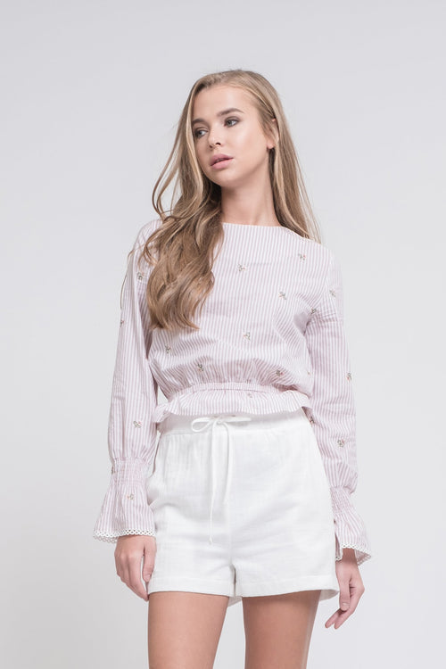 Embroidered Ruffle Hem Top - Sueño Clothing