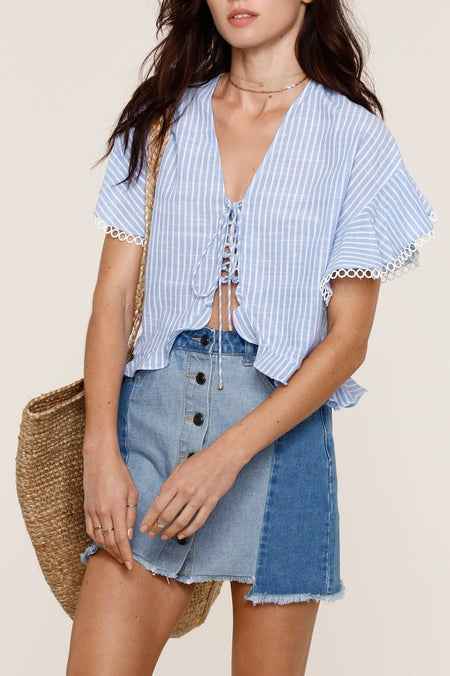 Cinched Denim Crop Top